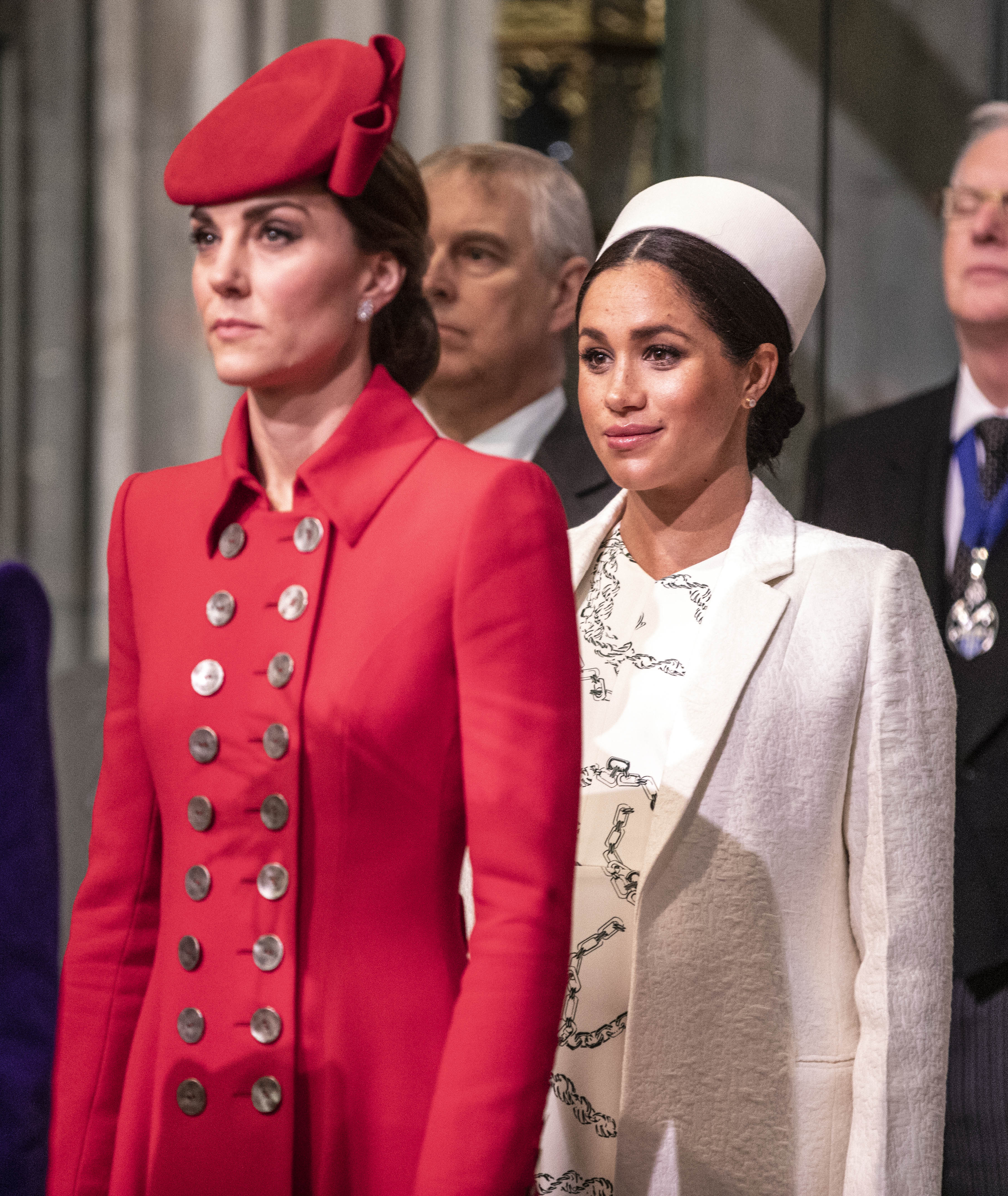 The Duchess of Cambridge stands with Duchess of Sussex at Westminster Abbey for a Commonwealth day service on March 11, 2019 in London, England   Photo: Getty Images