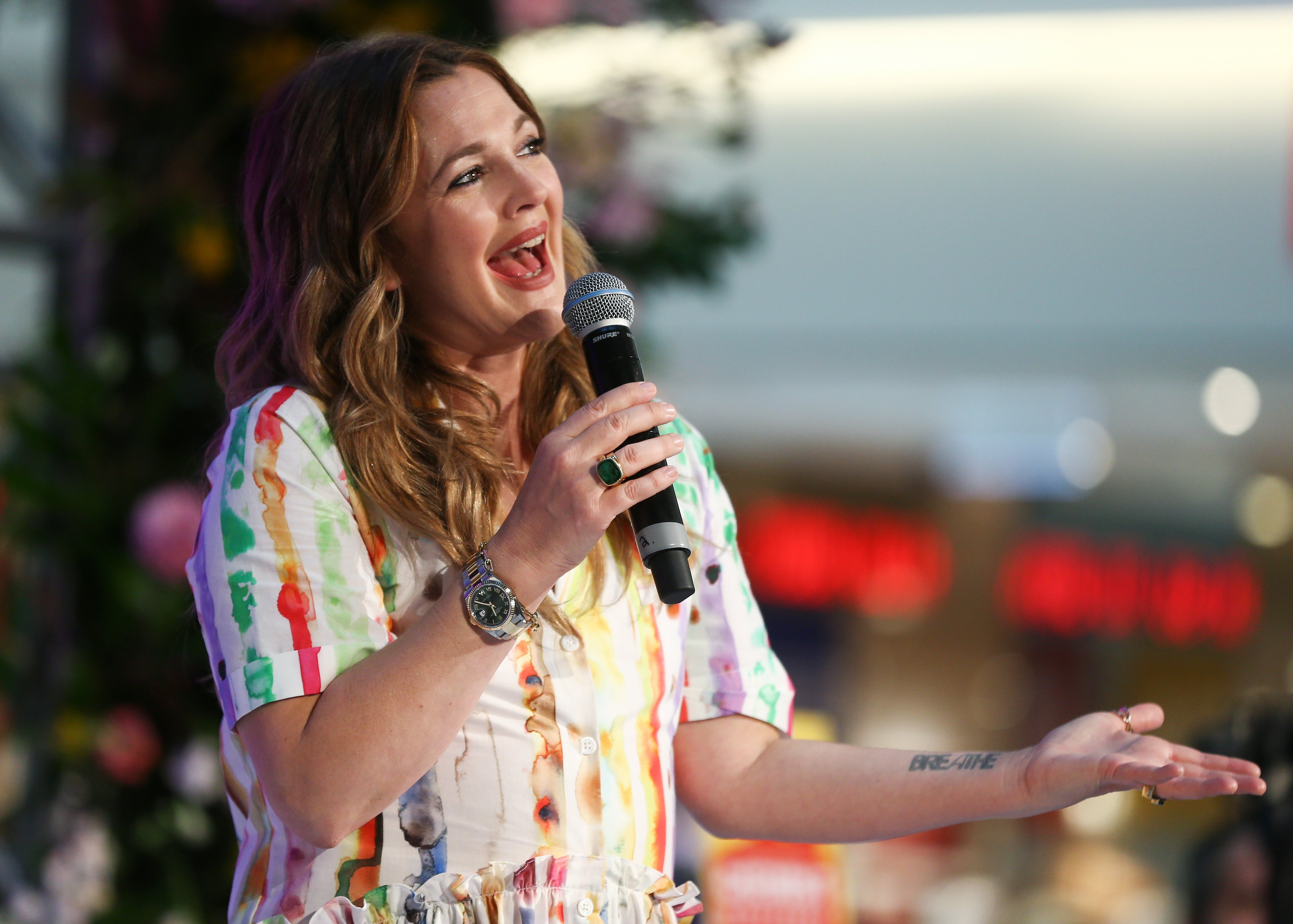 Drew Barrymore speaks at the FLOWER Beauty Launch in Sydney Australia on April 13, 2019 | Photo: Getty Images