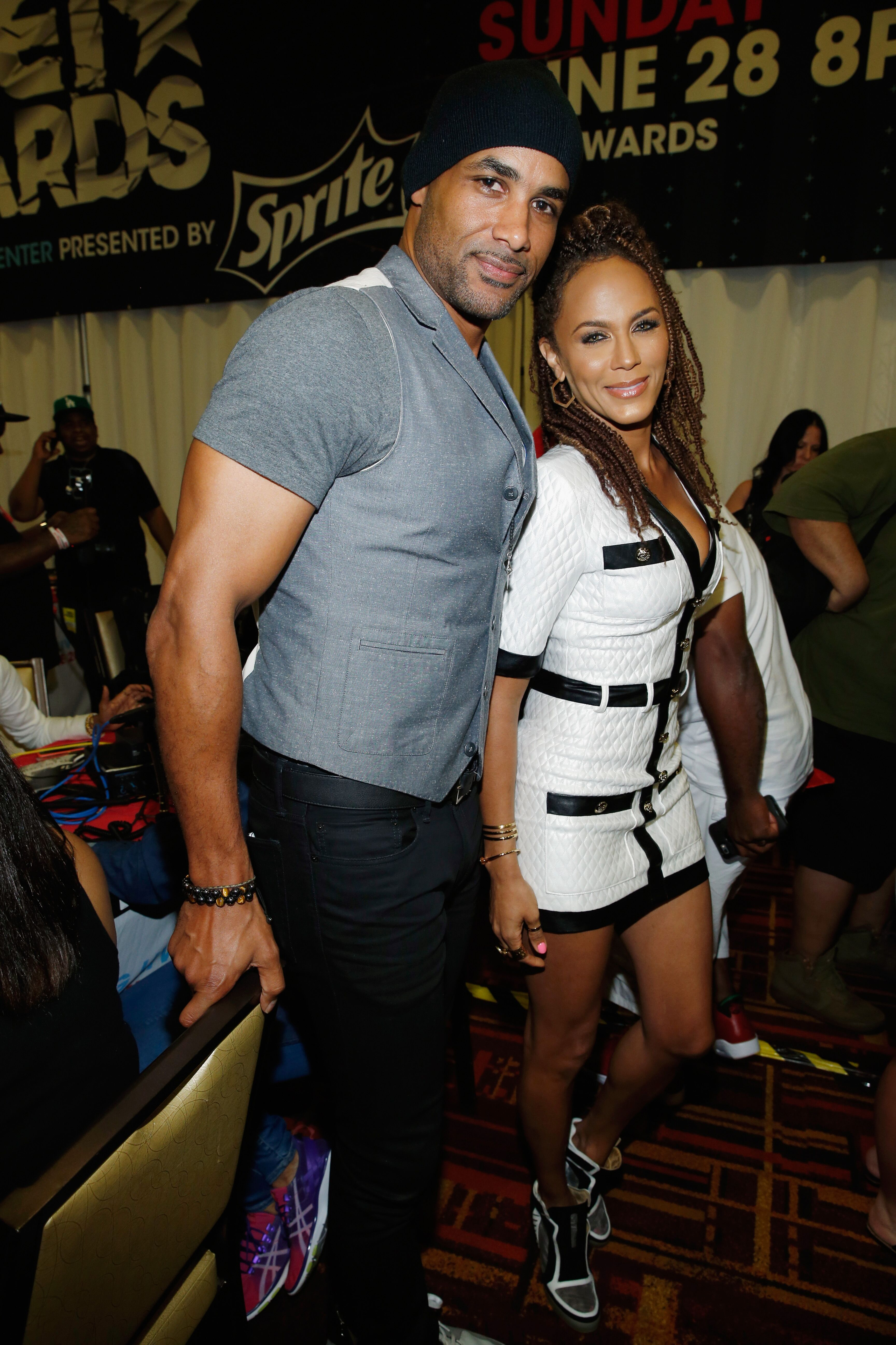 Boris Kodjoe (L) and Nicole Ari Parker attend day 2 of the radio broadcast center during the 2015 BET Experience on June 27, 2015 in Los Angeles, California. | Source: Getty Images