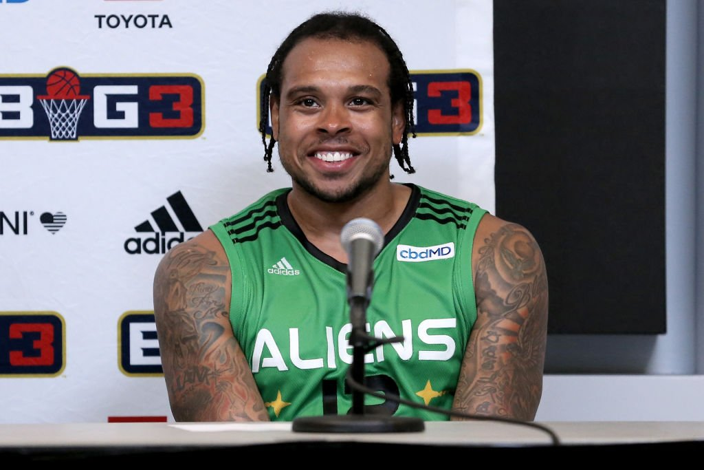 Shannon Brown #12 of the Aliens speaks to the media after beating 3's Company 50-35 during BIG3 - Week Seven at Fiserv Forum in Milwaukee, Wisconsin | Photo: Getty Images