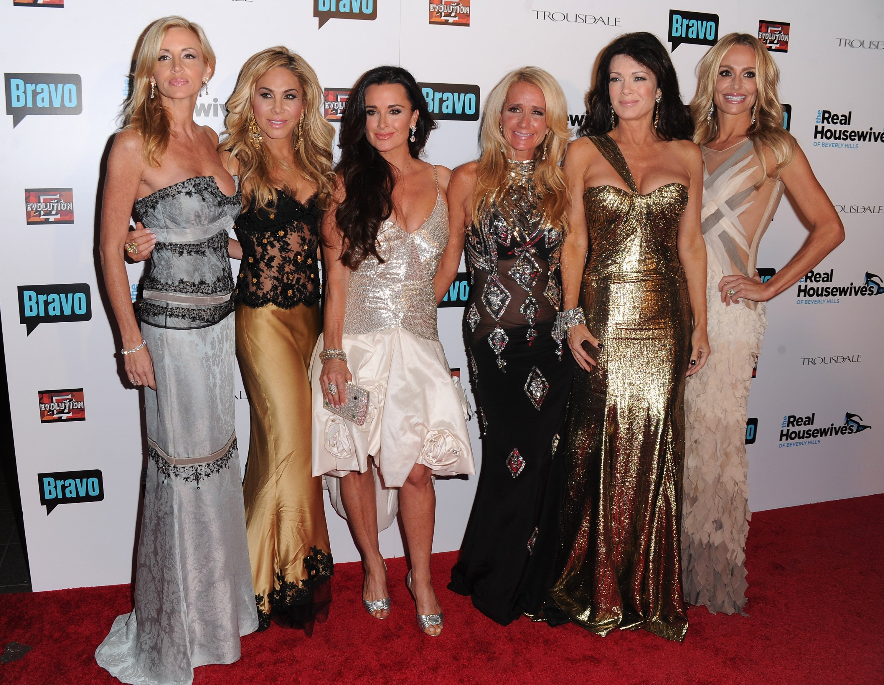 """Camille Grammer, Adrienne Maloof, Kyle Richards, Kim Richards, Lisa Vanderpump and Taylor Armstrong arrive at Bravo's """"The Real Housewives of Beverly Hills"""" series party on October 11, 2010. 