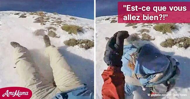 Un alpiniste sauve une femme qui glissait la tête la première le long d'un volcan couvert de neige