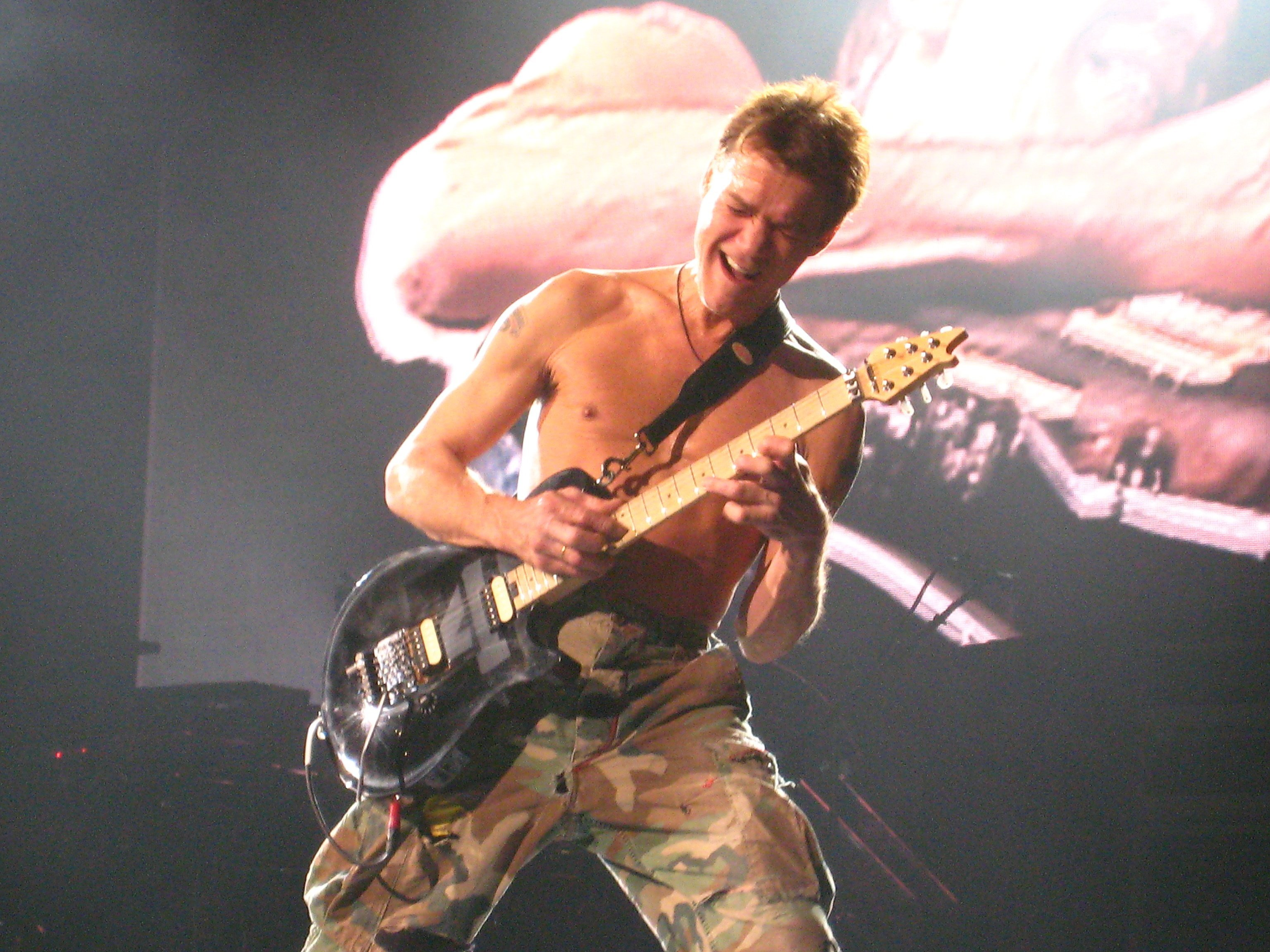 """Eddie Van Halen during the 2007 """"Eruption"""" tour in Bell Center, Montreal on November 10, 2007. 