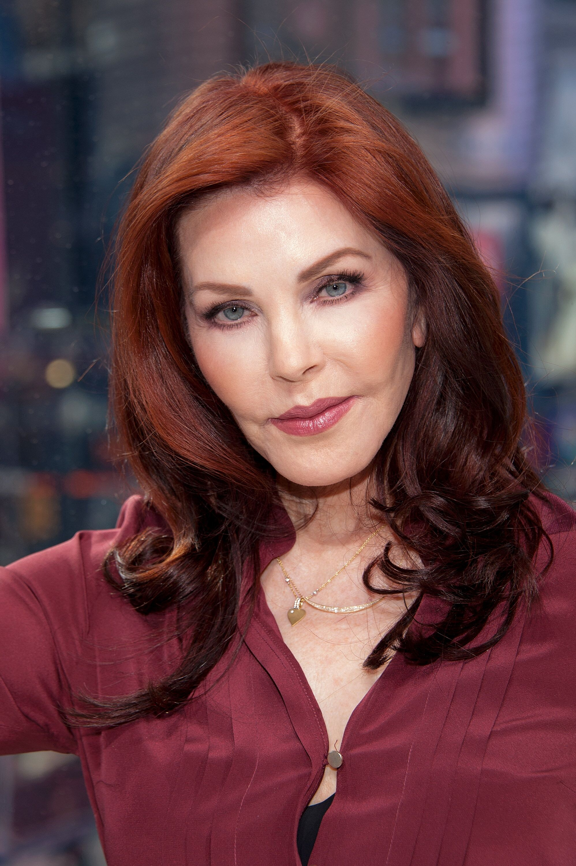 "Priscilla Presley visits ""Extra"" at their New York studios at H&M in Times Square 