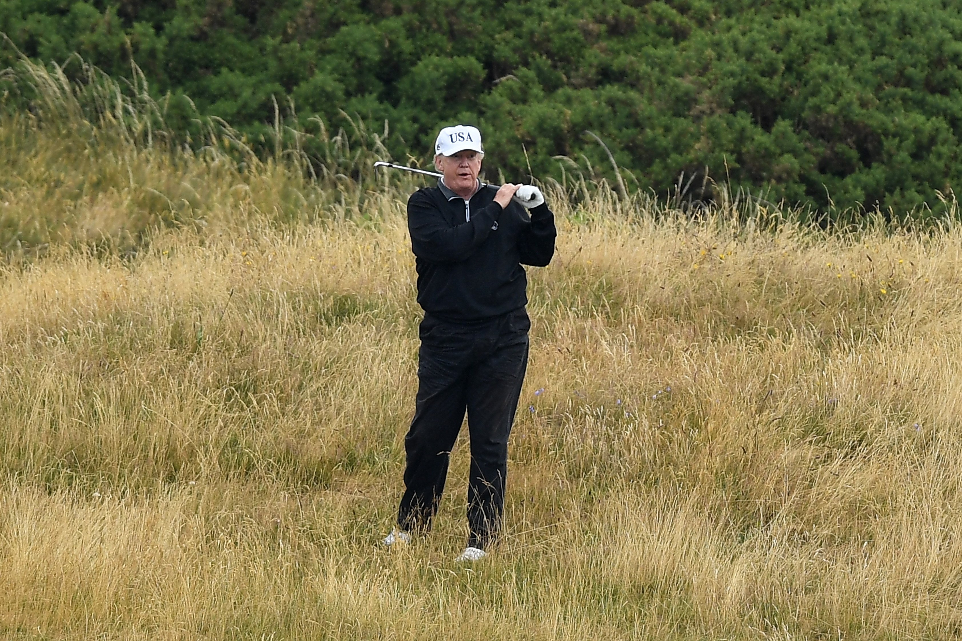 President Donald Trump plays a round of golf at Trump Turnberry Luxury Collection Resort, London. | Photo: GettyImages