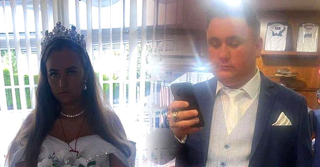 Bride-to-be wears a wedding dress to her fiancé's funeral because he died in a tragic accident and she shares a photo of him in the suit he would have worn   Photo: Facebook/dolled.up.503645