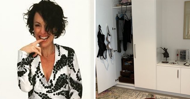 A picture of columnist Kerri Sackville on the left and a picture of her bras hanging on the right. │Source: twitter.com/KerriSackville