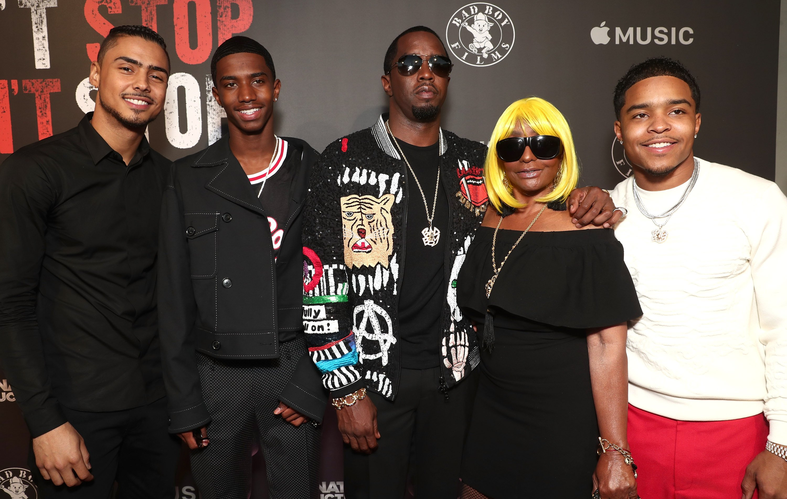 """(L-R)Quincy Brown, Christian Combs, Sean """"Diddy"""" Combs, Janice Combs & Justin Combs at the Premiere of """"Can't Stop Won't Stop"""" on June 21, 2017 in California 