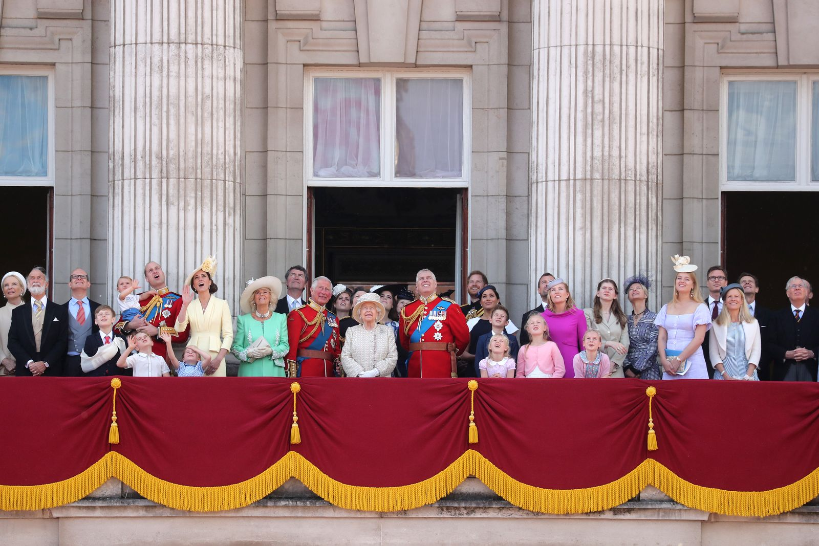 The Royal Family on the balcony of Buckingham Palace to watch a fly-past of aircraft by the Royal Air Force during Trooping The Colour, the Queen's annual birthday parade, on June 08, 2019.   Getty Images