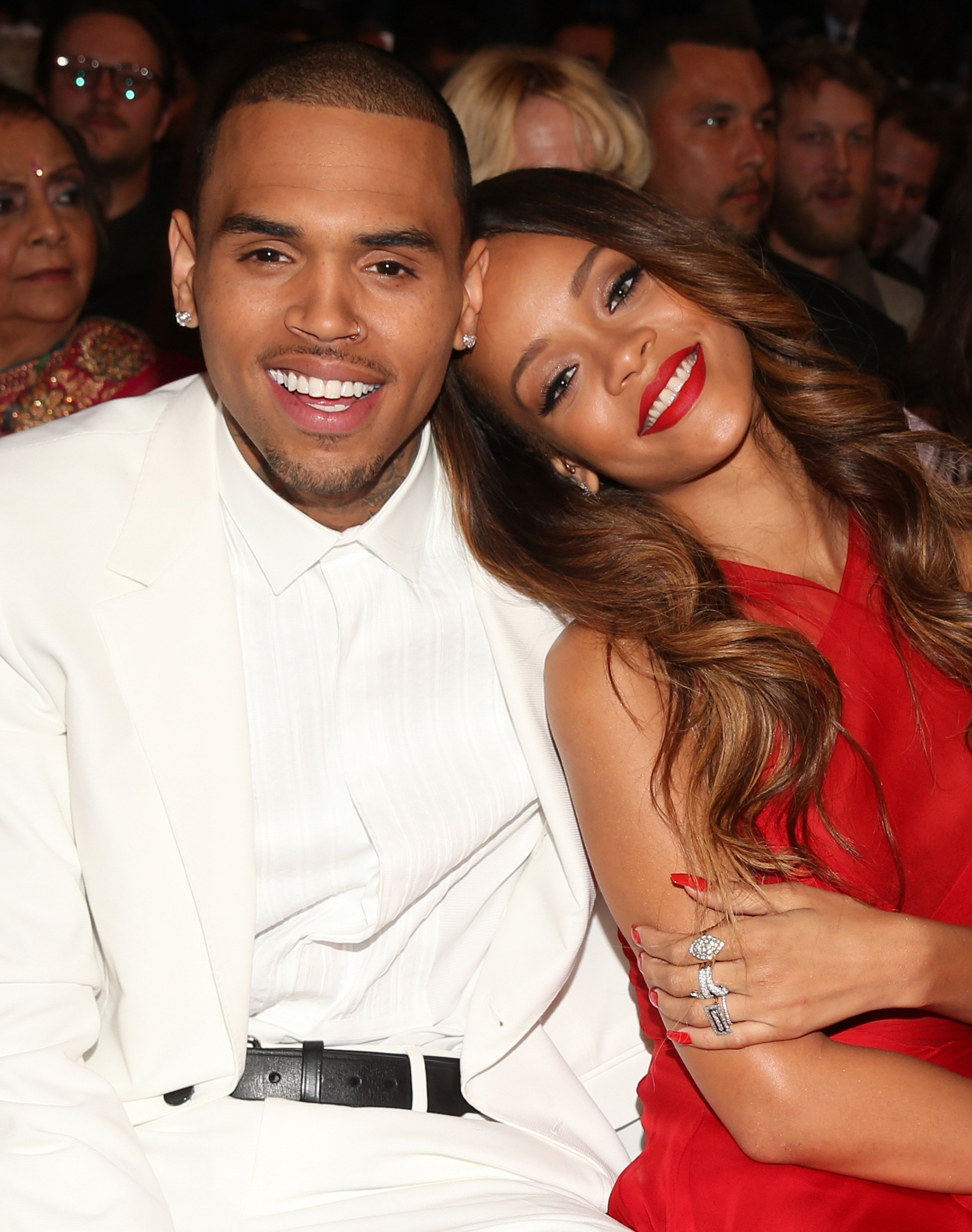 Chris Brown and Rihanna attend the 55th Annual GRAMMY Awards at STAPLES Center on February 10, 2013 | Photo: GettyImages