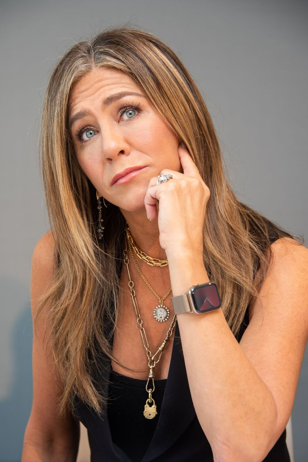 "Jennifer Aniston at ""The Morning Show"" Press Conference on October 13, 2019 