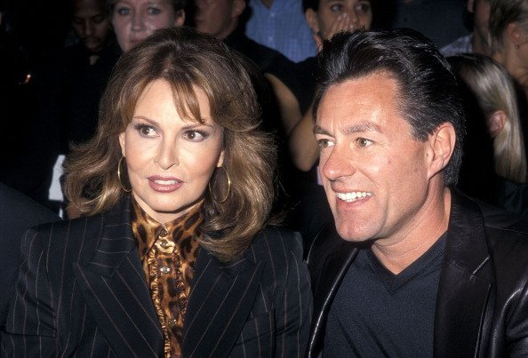 Raquel Welch and husband Richard Palmer at the Spring Fashion Week: Escada Fashion Show on September 12, 2000   Photo: Getty Images