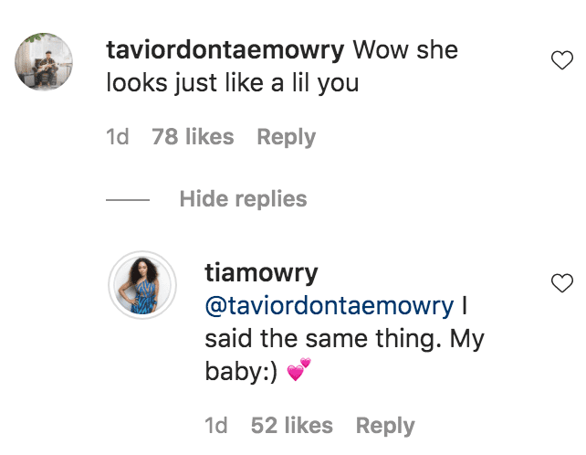Tavior Mowry commented on Tia Mowry's photo of her daughter, Cairo Hardrict smiling at the camera   Source: instagram.com/tiamowry