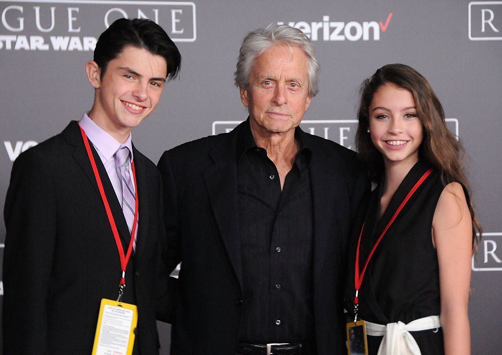 Dylan Michael Douglas, actor Michael Douglas and Carys Zeta Douglas attend the premiere of Walt Disney Pictures and Lucasfilms' 'Rogue One: A Star Wars Story'  | Getty Images