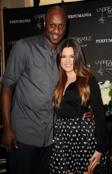 Lamar Odom and Khloe Kardashian at Perfumania on June 7, 2012 | Photo: Getty Images