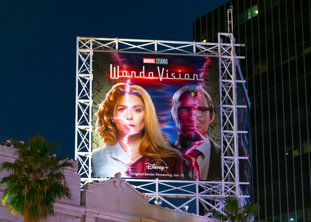 General view of a billboard above the El Capitan Entertainment Centre promoting the upcoming season of the Disney+ Marvel Studios flagship show 'WandaVision' on January 13, 2021 in Hollywood | Photo: Getty Images