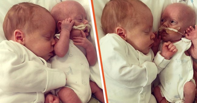 Newborn twins Chester and Otis Graves cuddling one another. | Source: instagram.com/miracletwins_plus3