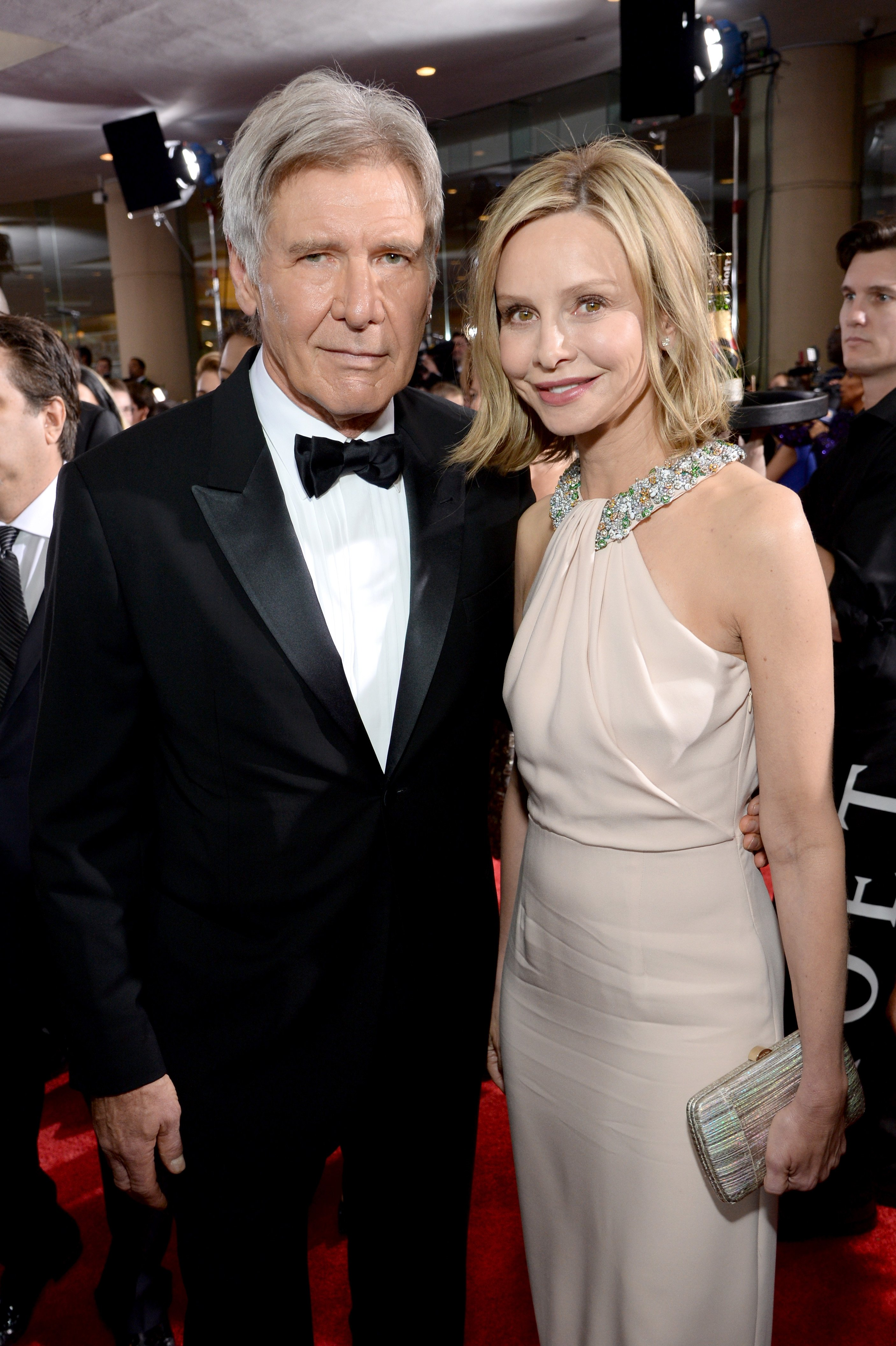 Harrison Ford (L) and Calista Flockhart attend the 72nd Annual Golden Globe Awards at The Beverly Hilton Hotel on January 11, 2015, in Beverly Hills, California. | Source: Getty Images.