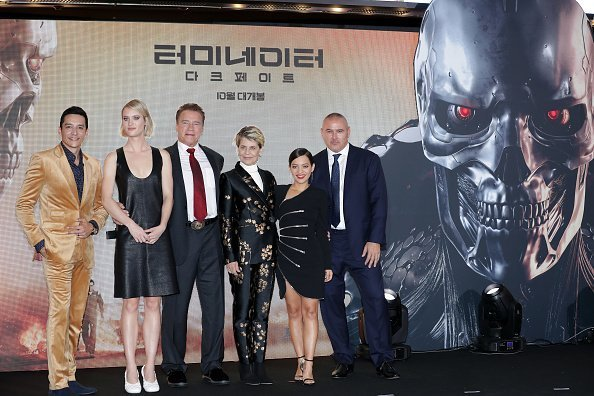 Arnold Schwarzenegger, Linda Hamilton, and other casts of 'Terminator: Dark Fate attend the Seoul premiere of the movie | Photo: Getty Images