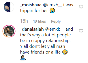 Dana Isaiah's comment on his post. | Photo: instagram.com/_danaisaiah