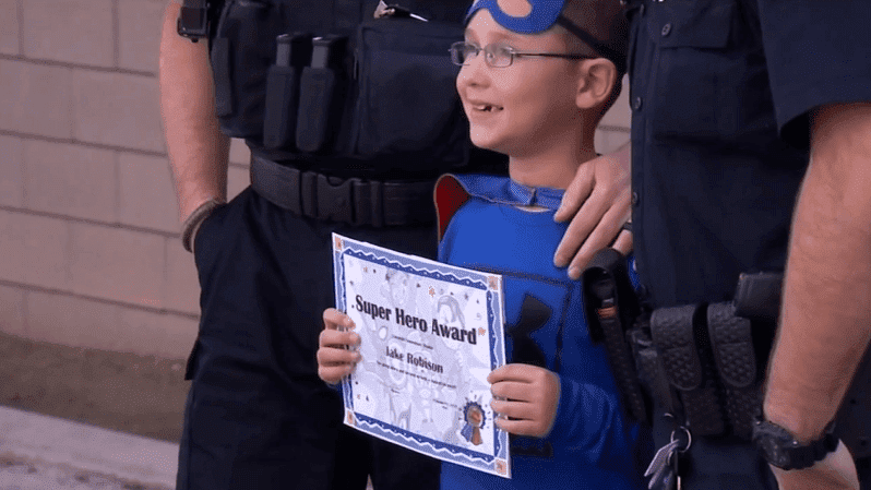 The school presented Jake with a Super Hero Award. | Source: Abc30.com