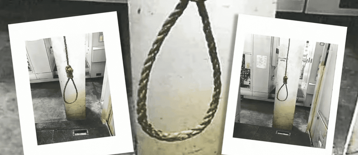 Photos of some of the nooses found around the place in separate incidents. | Photo: YouTube/CNN