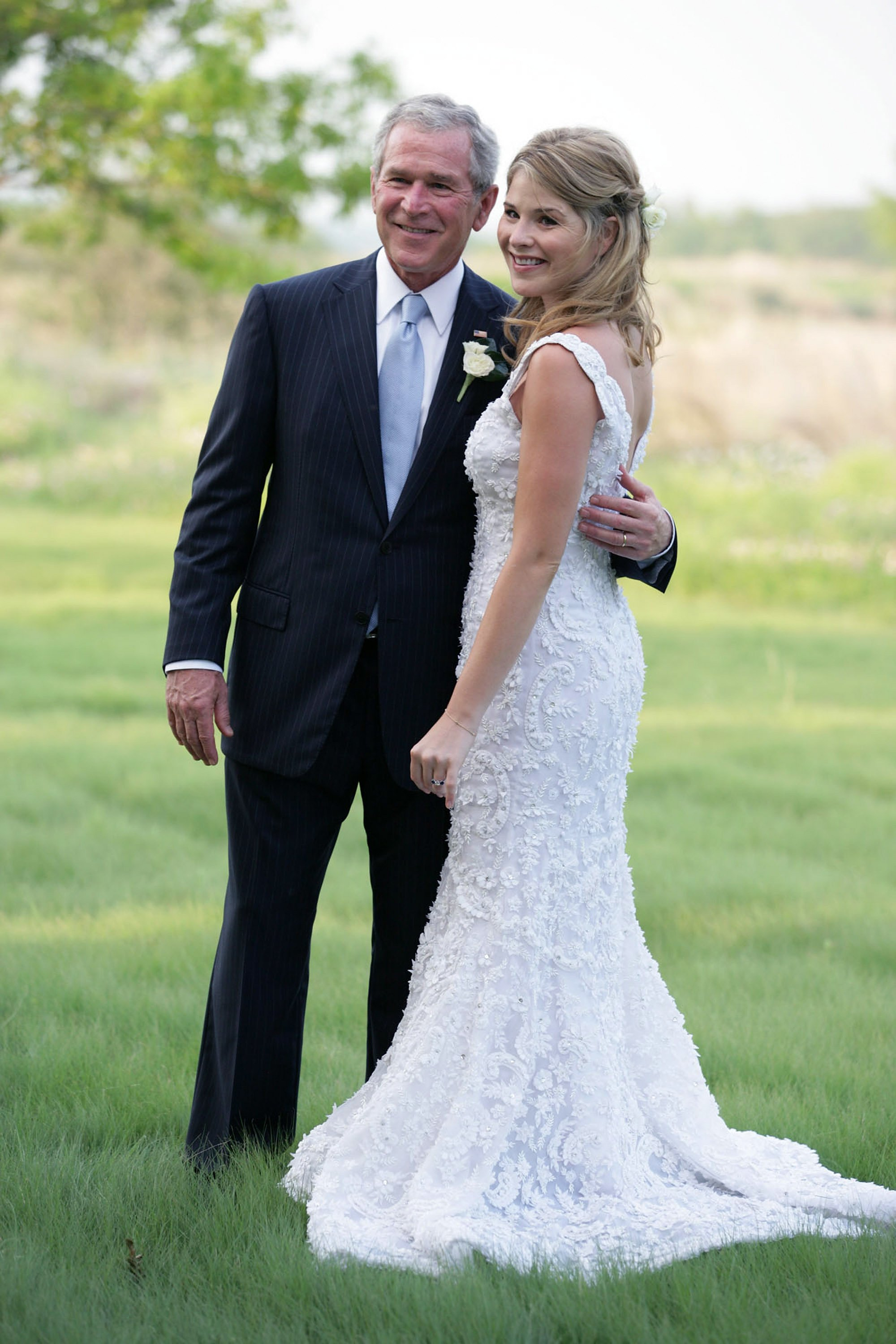 Jenna Bush Hager and her father George W. Bush pictured at her wedding at Prairie Chapel Ranch May 10, 2008.   Photo: Getty Images