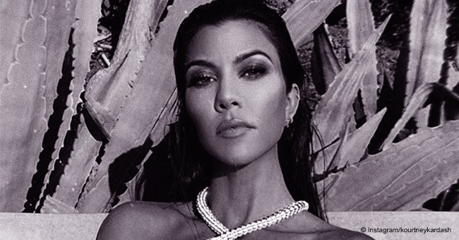 Kourtney Kardashian Goes Topless Wearing Only a Diamond Necklace in the Shape of a Snake