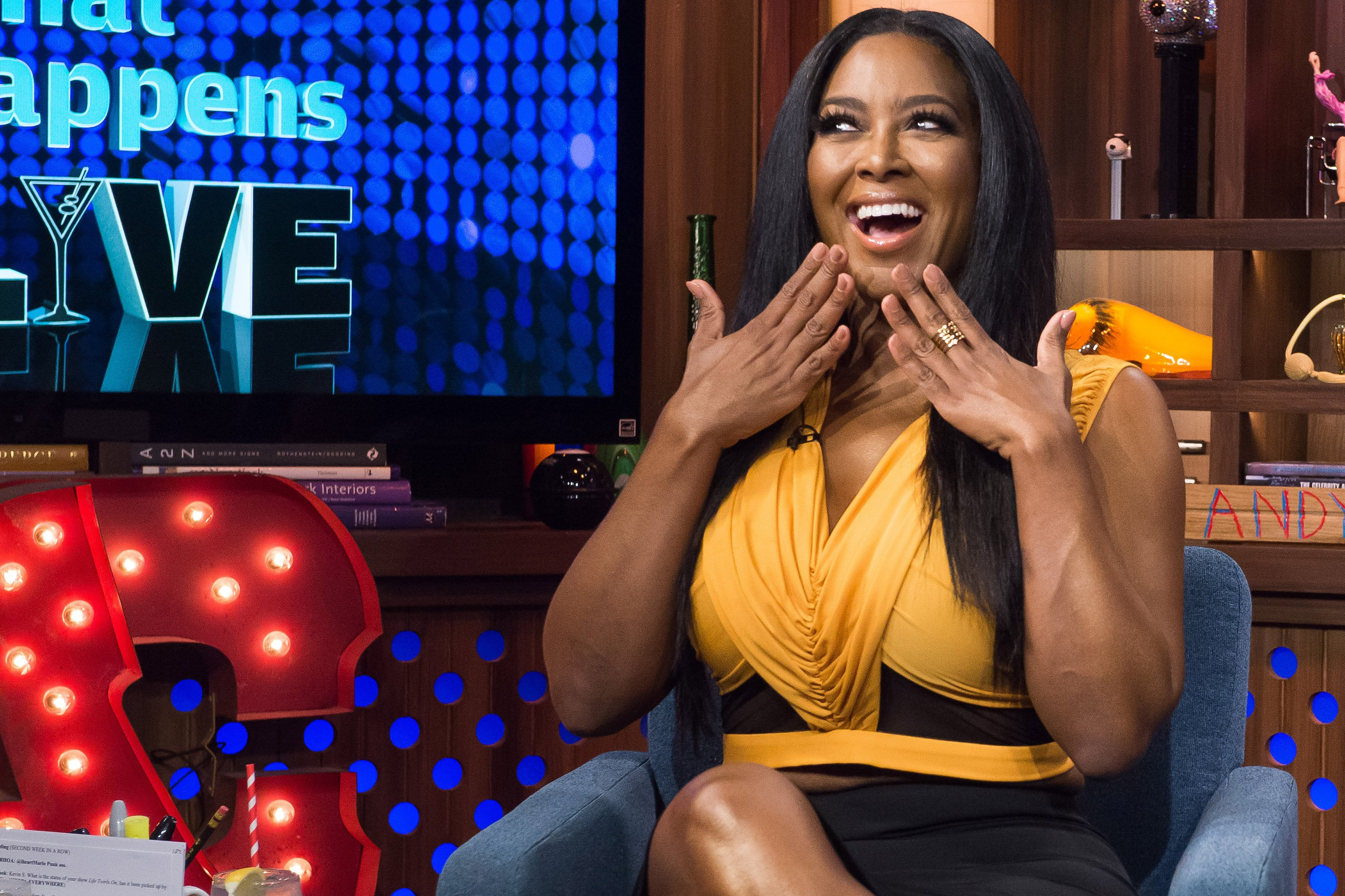 """Kenya Moore pictured during a taping of  season 12 of """"Watch What Happens Live with Andy Cohen"""" 