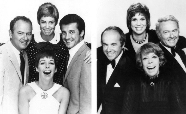 "On the left: (clockwise from the bottom): Carol Burnett, Harvey Korman, Vicki Lawrence, and Lyle Waggoner from ""The Carol Burnett Show"" in 1967. On the right: the 1977 cast Tim Conway, Lawrence, Korman, and Burnett 