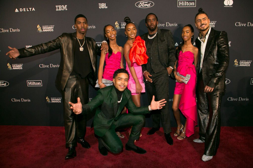 """Justin Combs, Sean """"Diddy"""" Combs, Christian Combs, Jessi Combs, Chance Combs, D'Lila Combs and Quincy Brown arrive at the Pre-GRAMMY Gala and GRAMMY Salute on January 25, 2020, in Beverly Hills, California 