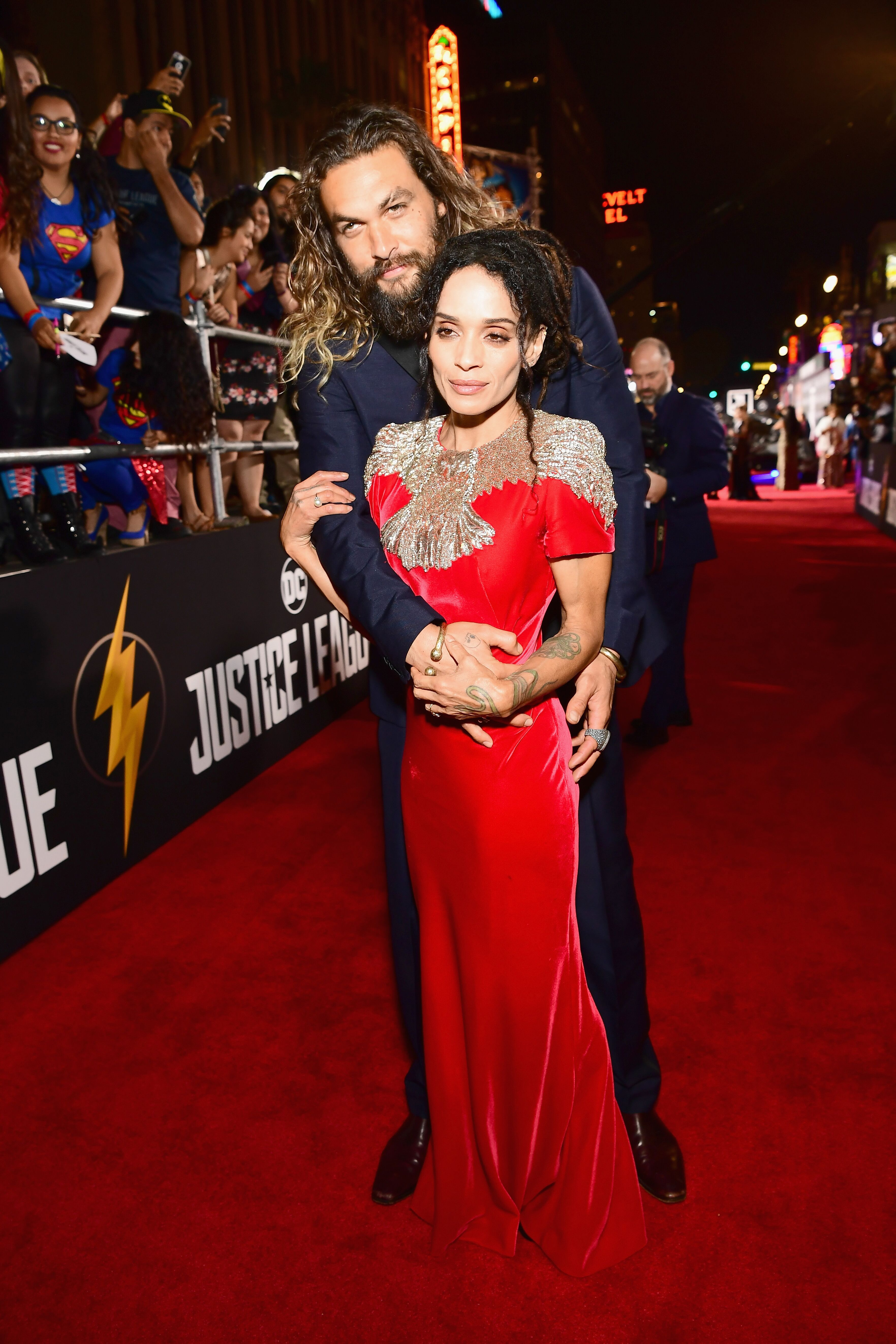 "Jason Momoa and Lisa Bonet at the premiere of ""Justice League""/ Source. Getty Images"