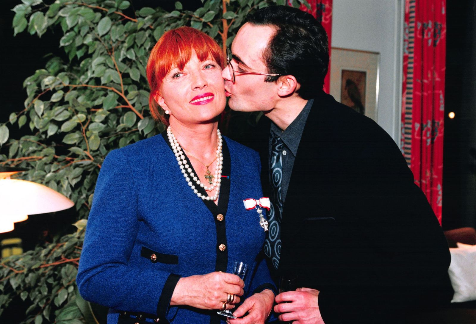 Stéphane Audran et son fils Thomas Chabrol | Photo : Getty Images