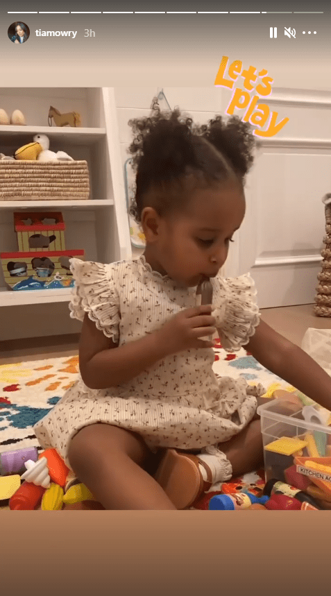 Tia Mowry's daughter, Cairo, pictured during her playtime with her toys | Photo: Instagram/tiamowry