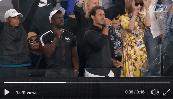 Screenshot of Oracene Price's reaction after Serena's win at the Australian Open on Monday, Jan. 21   Photo: Twitter/@jesang_