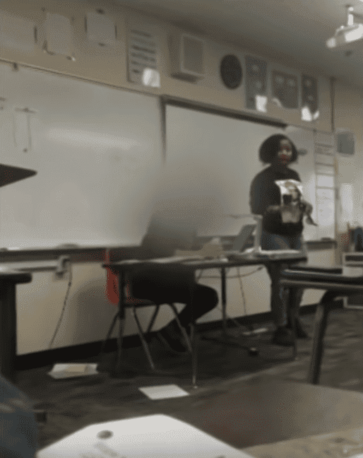 Screenshot of Christian Tinsley confronting the class. | Photo: YouTube/CBS Los Angeles