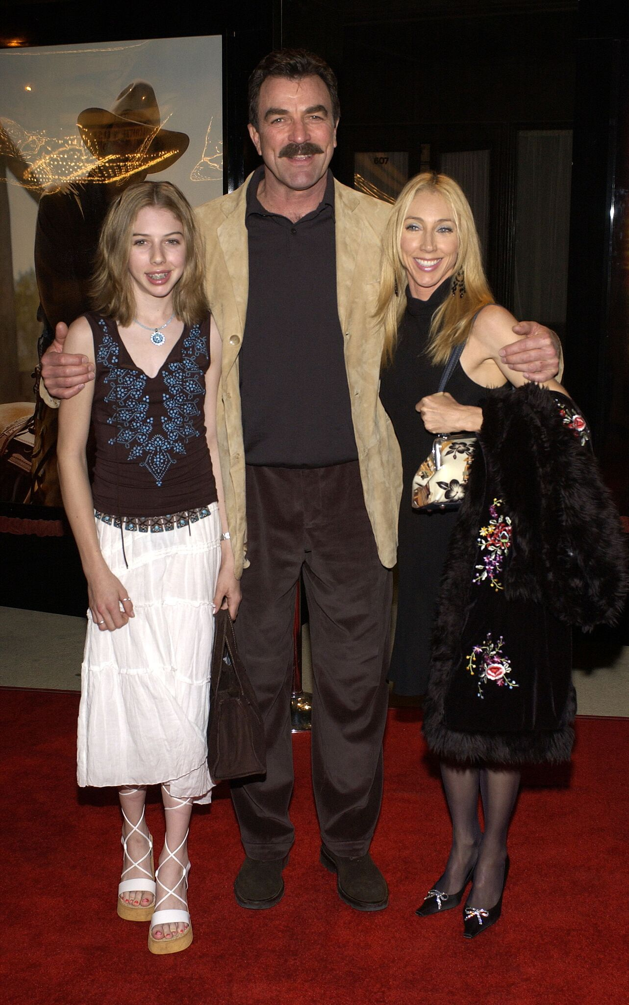 "Tom Selleck (C), wife Jillie (R) and daughter Hannah attend the premiere of the TNT television movie ""Monte Walsh"" 
