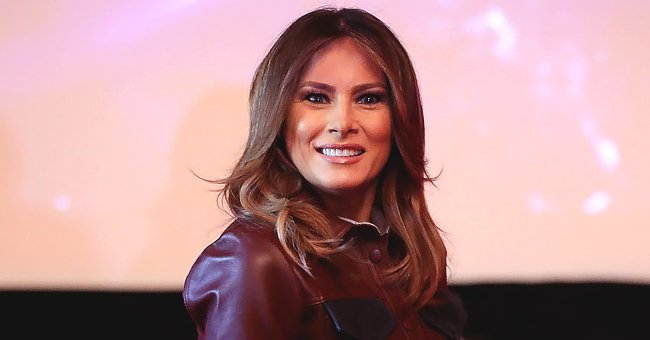 Melania Trump Is Effortlessly Chic in Leather Shirt & Olive Pants at American Red Cross Headquarters