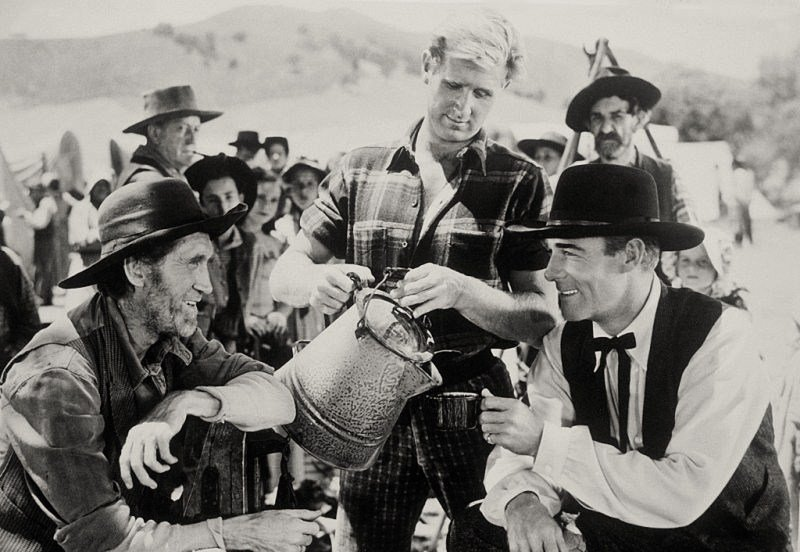 "Hank Patterson, Lloyd Bridges & Randolph Scott in ""Abilene Town."" 
