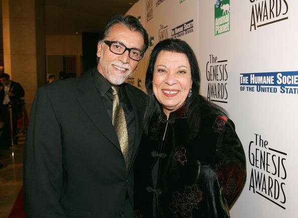 Walter Dominguez (L) and actress Shelley Morrison (R) arrive at the 20th Anniversary Genesis Awards at the Beverly Hilton Hotel on March 18, 2006, in Los Angeles, California. | Source: Getty Images.