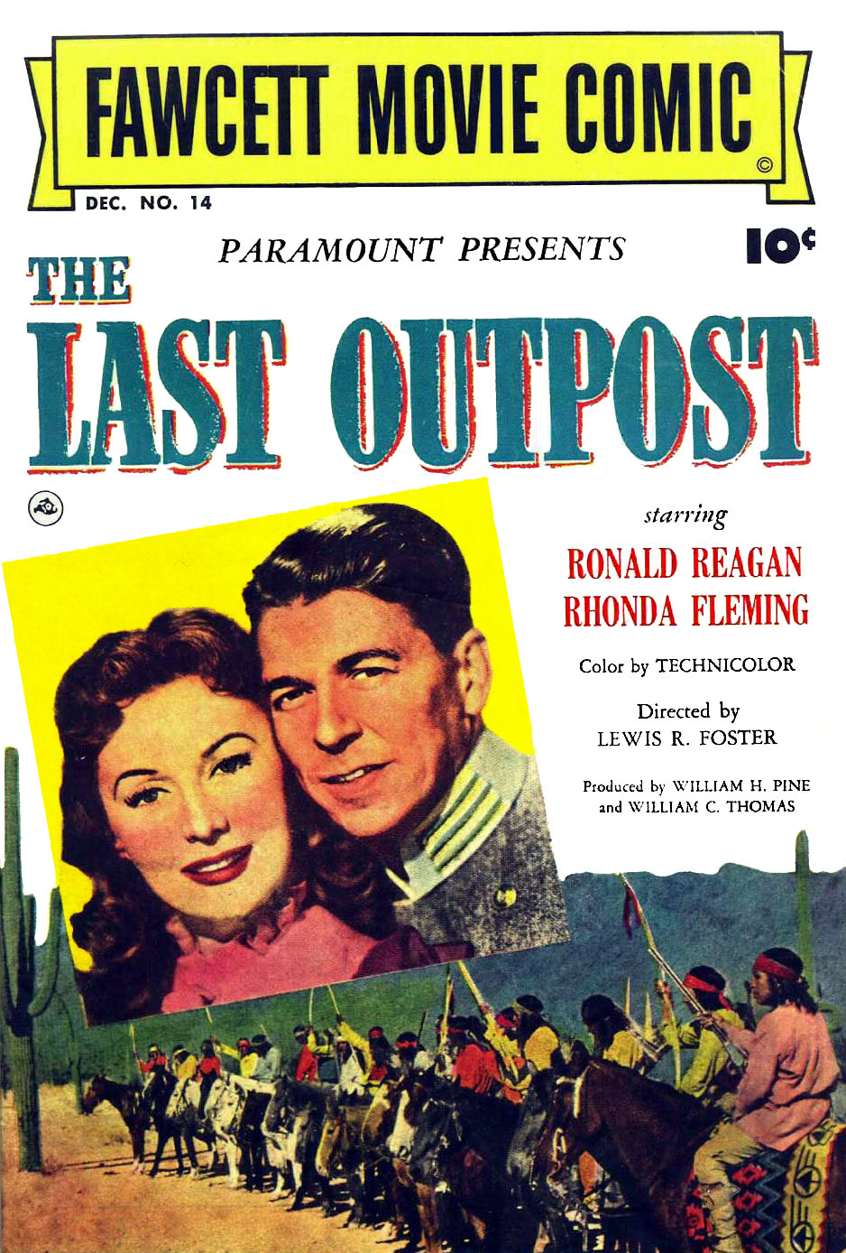 """Movie poster for """"The Last Outpost"""" starring Rhonda Fleming and Ronald Reagan. 