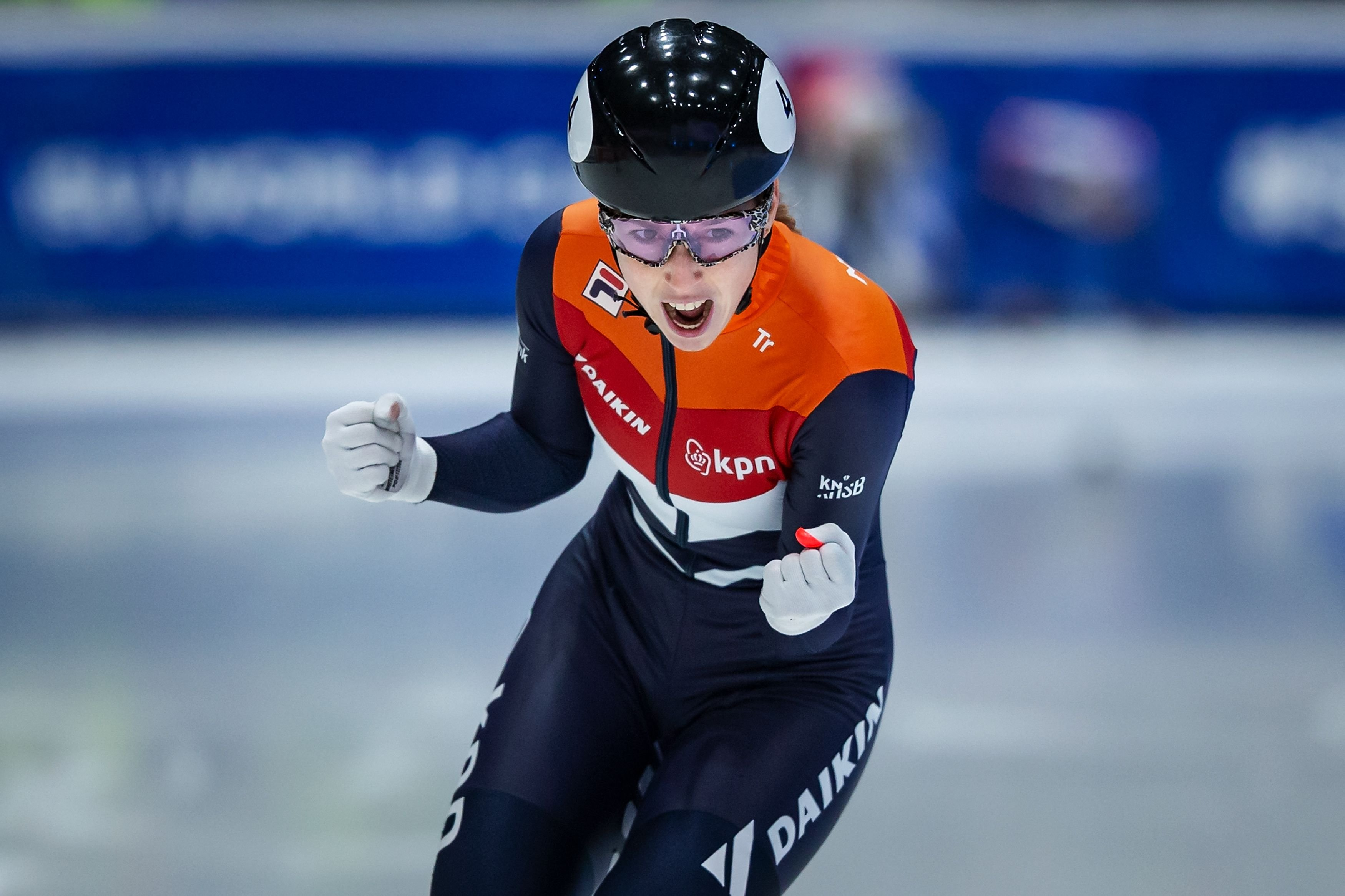 Lara van Ruijven of Netherlands celebrates in the Ladies 500m final during day 2 of the ISU World Cup Short Track at Sportboulevard on February 16, 2020 in Dordrecht, Netherlands | Photo: Getty Images