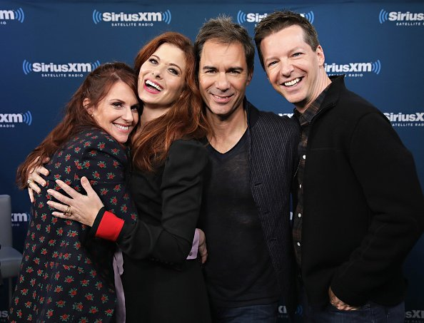 Actors Megan Mullally, Debra Messing, Erik McCormack and Sean Hayes take part in SiriusXMÕs ÔTown HallÕ with the cast of ÔWill & GraceÕ hosted by Andy Cohen on September 25, 2017, in New York City. | Source: Getty Images.