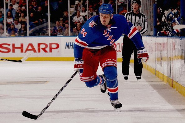 Derek Boogaard #94 of the New York Rangers skates against the New York Islanders at the Nassau Coliseum on October 11, 2010, in Uniondale, New York. | Source: Getty Images.