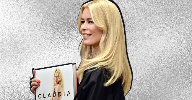 Claudia Schiffer Poses beside Her Fashionable '90s Picture at a Photography Exhibit