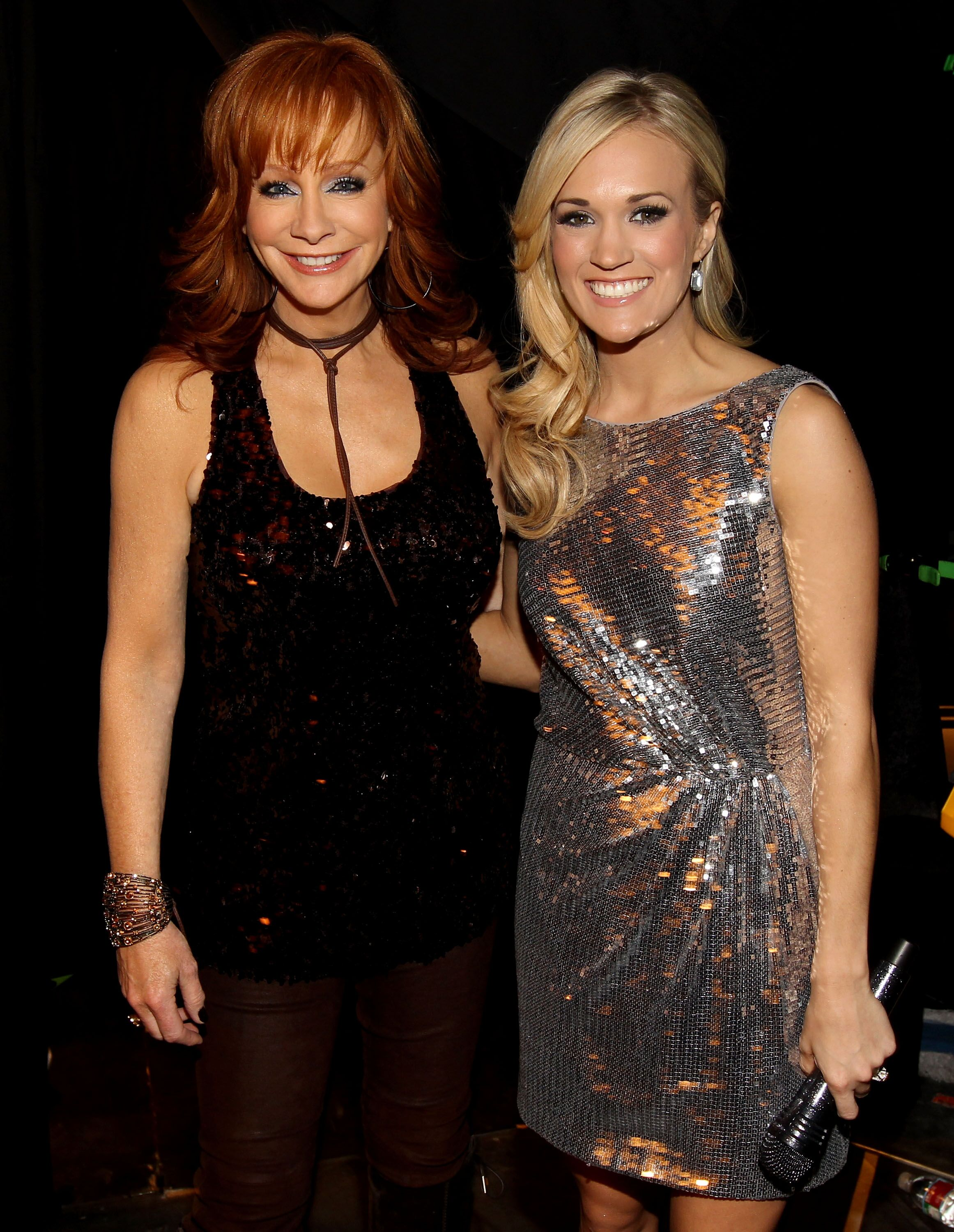"""Carrie Underwood and Reba McEntire  backstage during """"The Last Rodeo Show"""" in Las Vegas in 2010 
