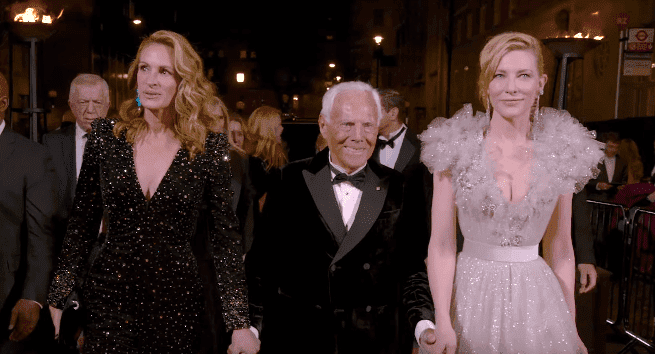 Julia Roberts, Giorgio Armani, and Cate Blanchett on the red carpet at the 2019 British Fashion Awards. | Source: YouTube/British Fashion Council