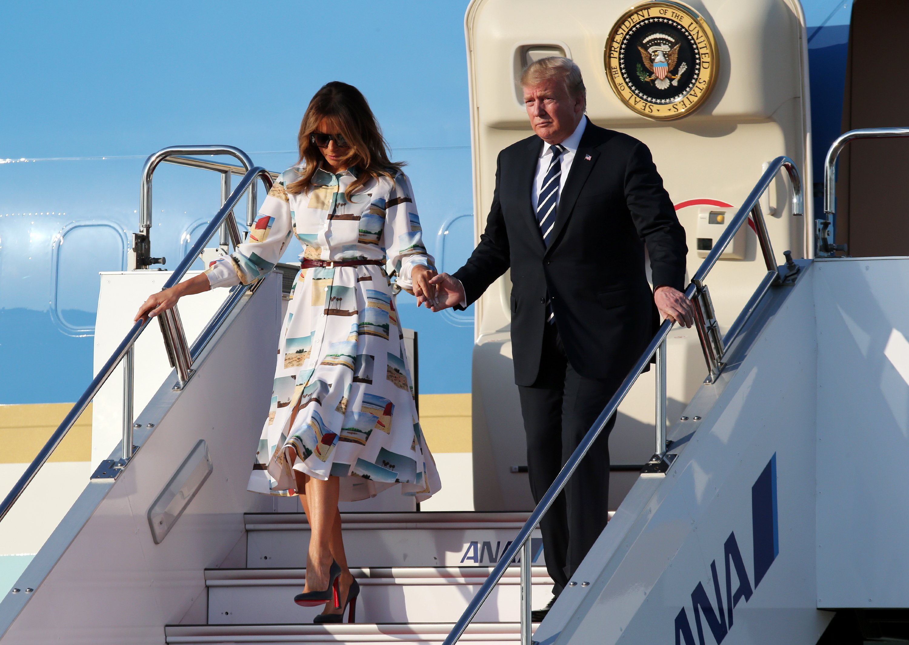 Donald Trump and Melania Trump arriving at the Haneda International Airport in Tokyo, Japan | Photo: Getty Images