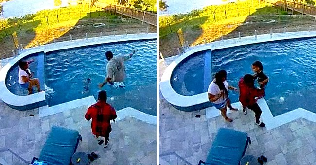 The moment Andre Drummond saved his toddler son that fell into a pool | Photo: Twitter/ AndreDrummond