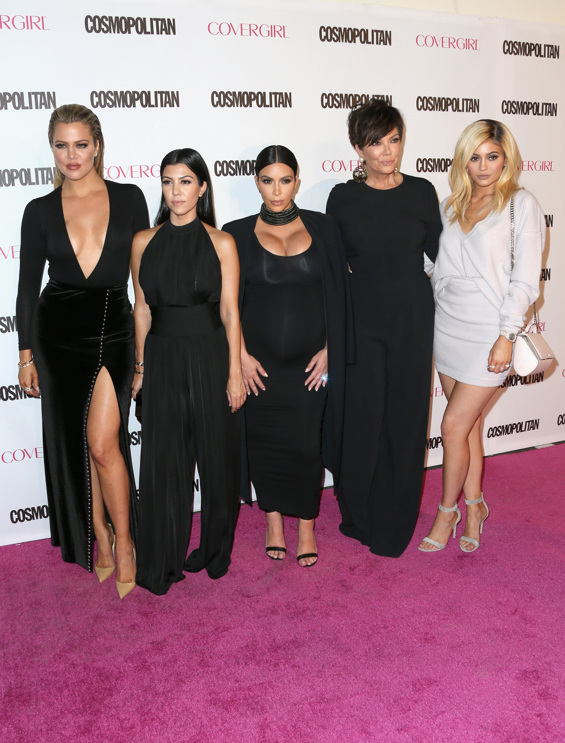 TV personalities Khloe Kardashian, Kourtney Kardashian, Kim Kardashian, Kris Jenner and Kylie Jenner attend Cosmopolitan's 50th Birthday Celebration | Source: Getty Images